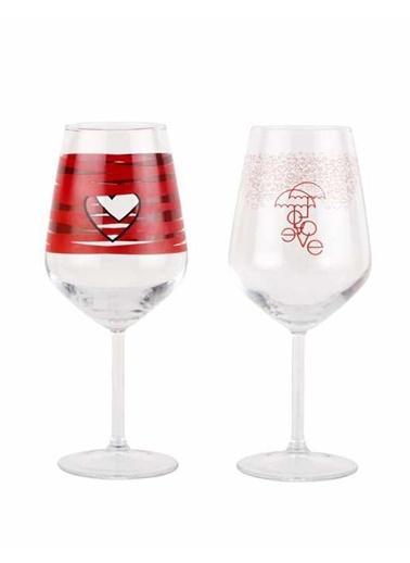 Kırmızı Desenli 2li Şarap Kadehi-Tantitoni